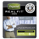 Depend Real Fit For Men Underwear Heavy Absorbency Large 8 Pants