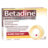 Betadine Anaesthetic Lozenges Honey  Lemon 16
