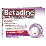Betadine Anaesthetic Lozenges Berry 16