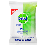 Dettol 2 IN 1 Antibacterial Wipes 15